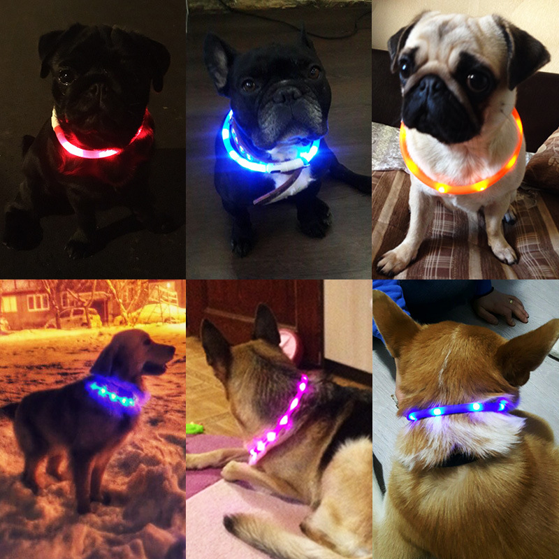 2018 Amazon hot selling of the dog ring silicone & LED light USB rechargeable flashing band in case of pets lose
