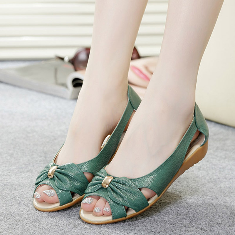 100-Cow-Genuine-Leather-Sandals-Women-Flat-Heel-Sandals ...