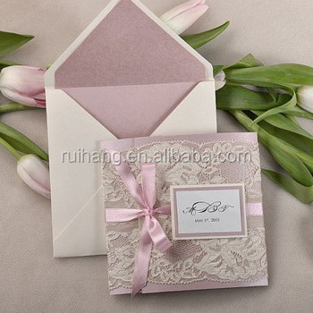 Patel Pink And Couture Lace Wedding Invitation Pocket Fold Wedding