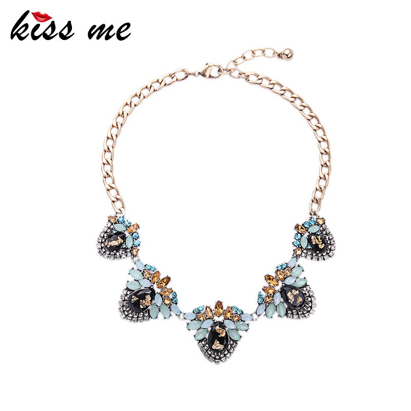 Women Fashion Retro Collar Resin Gem Cluster Multicolor Statement Necklace