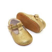 Soft Leather Prewalker shinny Gold Party T Bar Mary Jane Baby Glitter Shoes