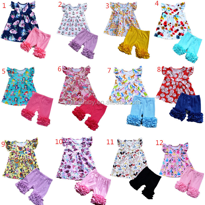 Wholesale Baby Girl Boutique Clothing Sets Summer Frock Design Pearls Tops Icing Shorts Set