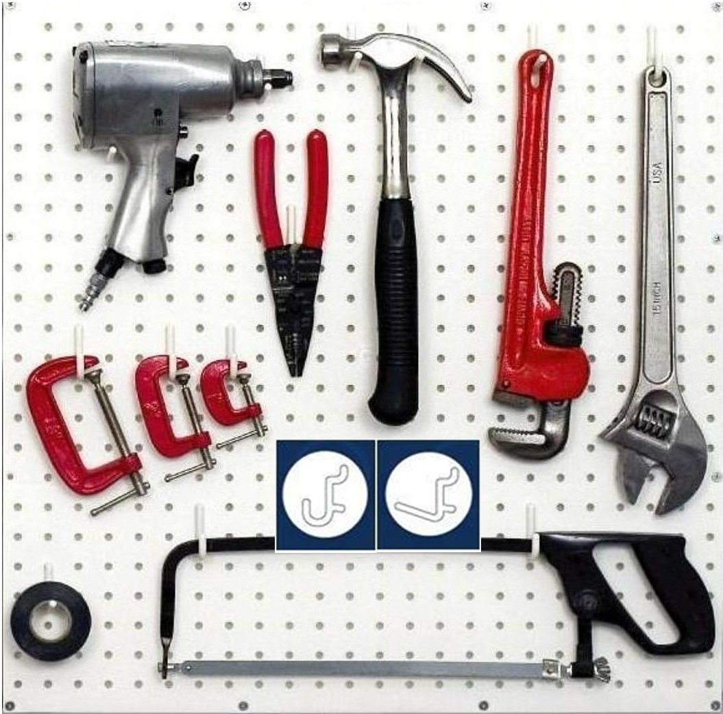Wallpeg Pegboard Hooks – 100 pk. Black Flex-Lock Peg Hooks, 50 J & 50 L Style -AM 100 B
