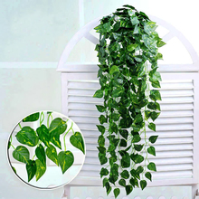 Green Artificial Silk Money Plant Ivy Vine Leaves Fake Foliage Hanging Flower Garland Plants