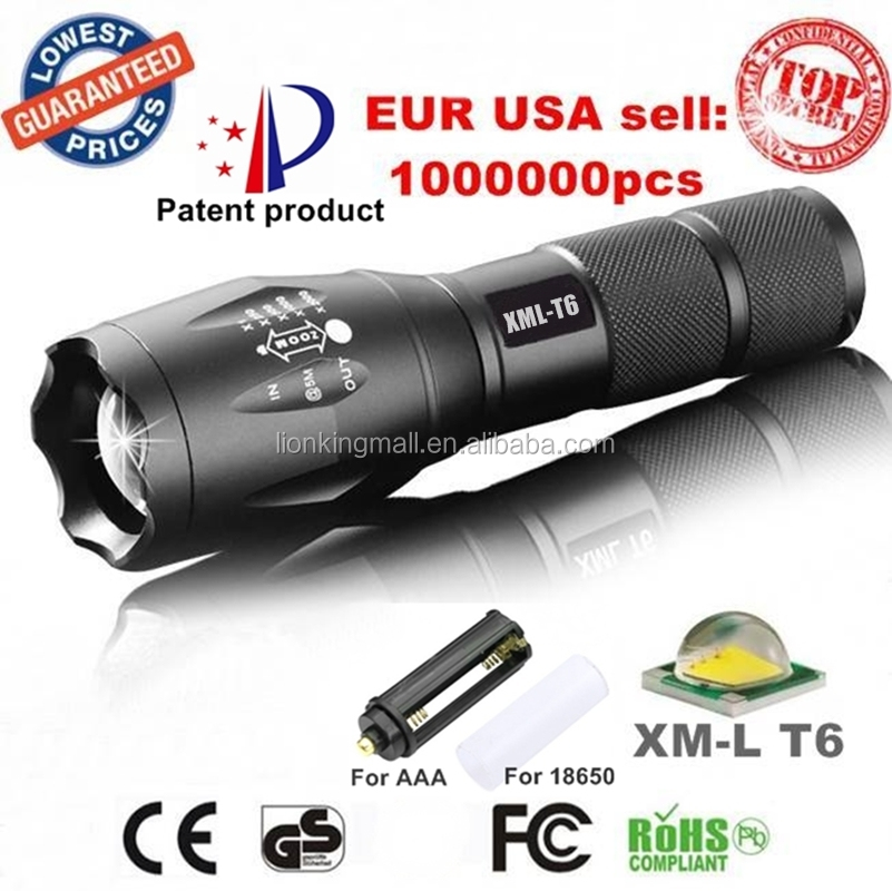 USA EU Hot E17/A100 XM-L T6 2000Lumens Zoomable Tactical LED Flashlight Torches lights for 3xAAA or 18650 rechargeable battery