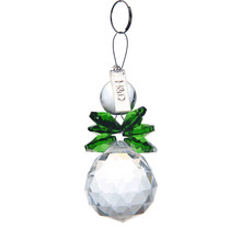 2PCS Clear Grreen 30mm Glass Crystal Ball Christmas Snowman Hanging Pendants Suncatcher Chandelier Part Prism Tree Decorations