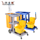 Multifunction hotel room cleaning trolley and housekeeping service cart trolley