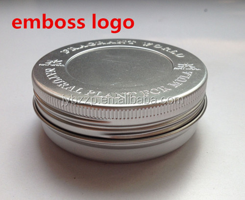 wholesale shoes polish tin jar,aluminum pomade jar with logo embossing