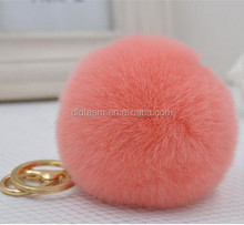 real fur ball key chain / fur ball keychain / rex rabbit fur pom poms for winter hat