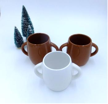 440ml 15 OZ Ceramic Two Handle Coffee Mug Mug With Handle Brown