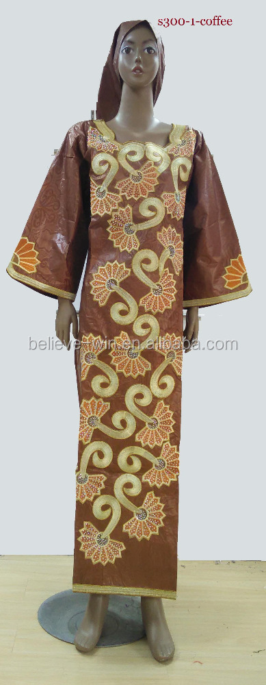 african bazin embroidery design dress for <strong>women</strong> of S301 coffee