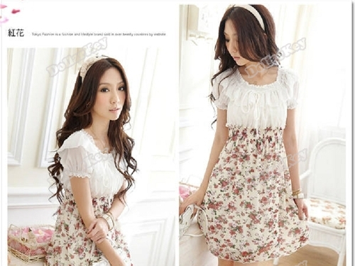 2014 Brand New dollarkey Womens Chiffon Tunic Floral Short Sleeve Mini Dress 050 24 hours dispatch Cheapest