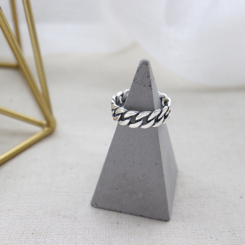 Fashion jewelry vintage 925 silver open chain link finger ring