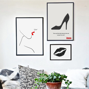 Fashion Lips Canvas Paintings Abstract Black White Poster Print Nordic Wall Art Pictures Home Decor
