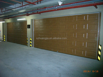 Insulated PU Panel Sectional Automatic Overhead Double Car Garage Door Made  In Shenzhen