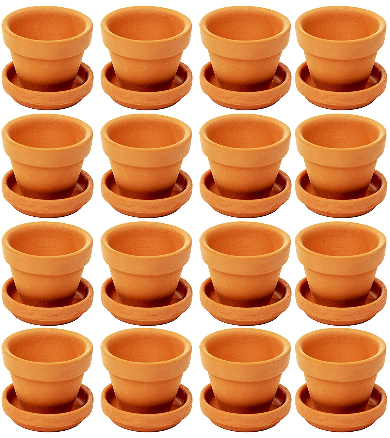 Mini Terra Cotta Pots with Saucer- 16-Pack Clay Flower Pots with Saucers, Mini Flower Pot Planters for Indoor, Outdoor Plant, Succulent Display, Brown - 2 x 1.5 inches
