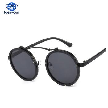 ada6d5d65 2017 Gothic Steampunk Sunglasses Men Women modern Metal Wrap Round Shades  Brand Designer Sun Glasses Mirror