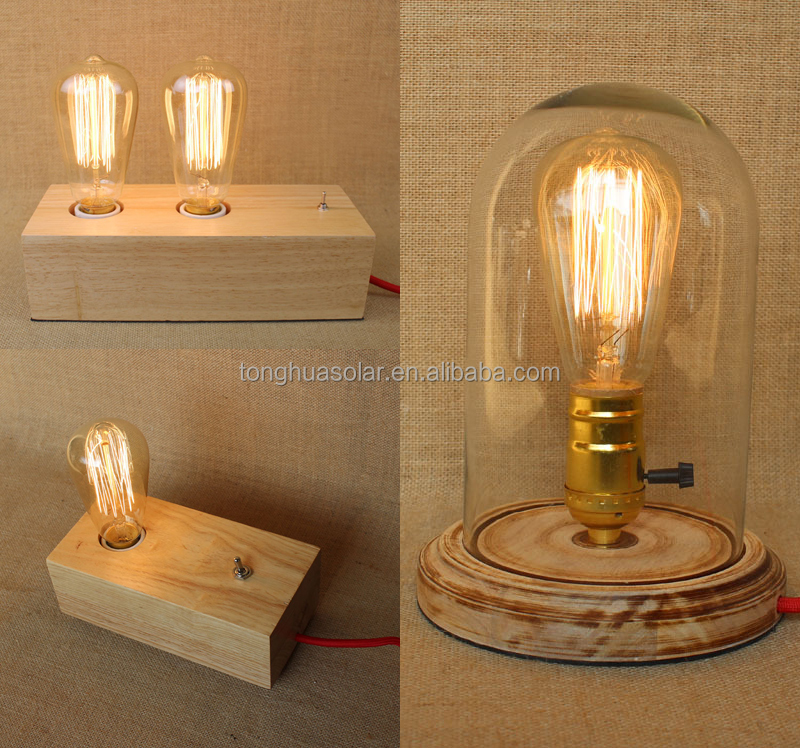 Different Types Wood Table Lamps with US/EURO Plug Vintage Reading Lamps