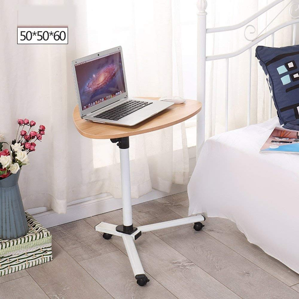Tables MEIDUO Rolling Desk Laptop Notebook Stand Tiltable Tabletop Desk Sofa/bed Side Angle & Height Adjustable (Color : Wood grain)
