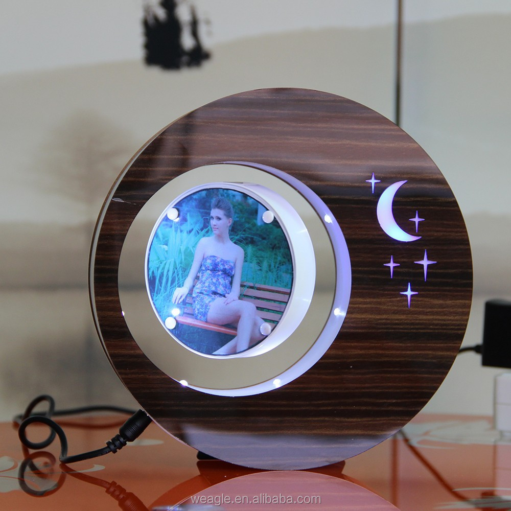 2 sides LED suspending in the air magnetic levitation photo frame delicate anniversary <strong>gifts</strong> for him