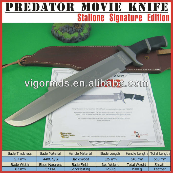 "20"" Long Black Wood Handle Stallone Signature Edition Predator Movie Military Combat Survival Knife"