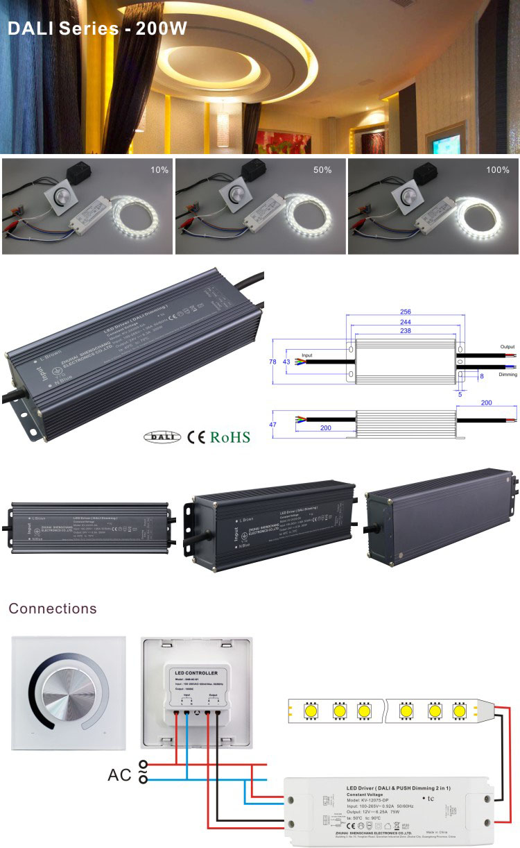 SC LED driver 200W DC12v dimming led power driver supply