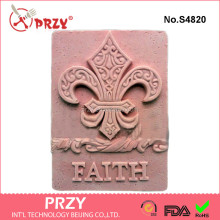 S4820 PRZY 2D Silicone Soap/plaster/clay/cold porcelain Mold-Fleur de Lis and Faith