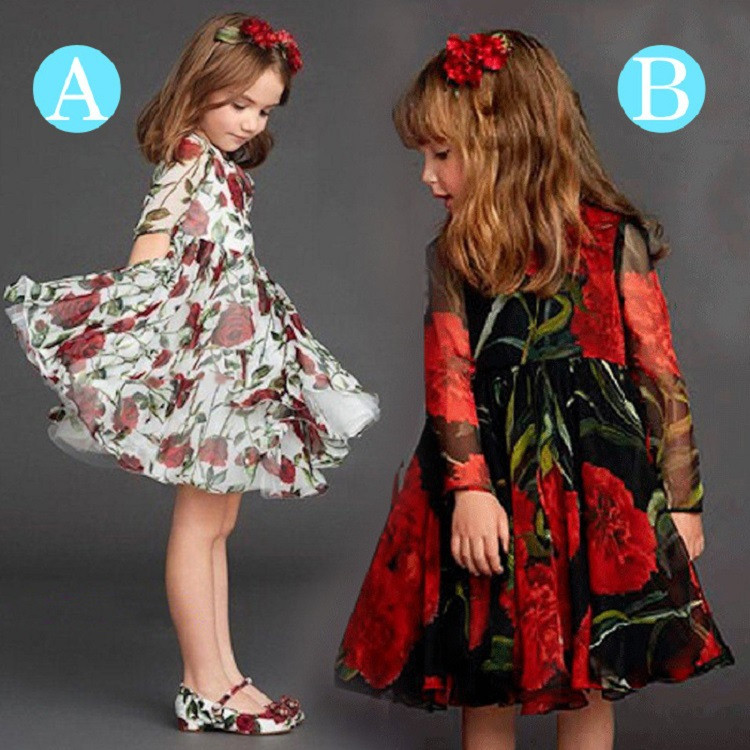 Spring style children dress wholesale Long sleeve Chiffon rose kids princess dress