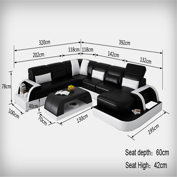 Big White Leather Corner Sofa White Genuine Leather Sofa Set