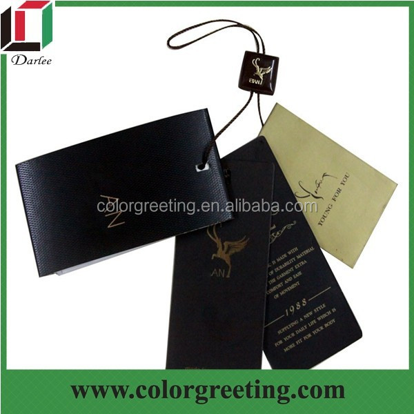 high quality embossed swing tag custom gold stamping price tags for garment promotion recycled paper clothing tag