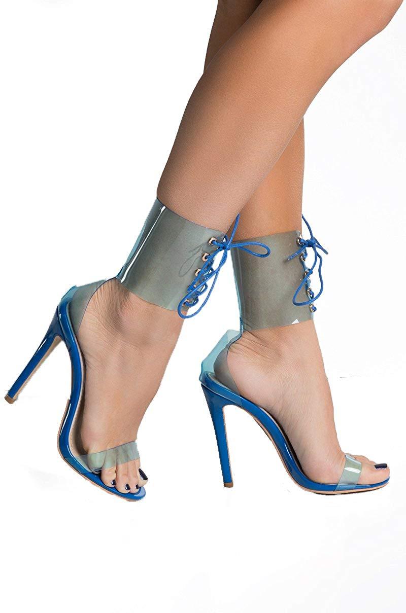5881b5b5491c Get Quotations · AZALEA WANG Clear Transparent Blue PVC Lace Up Sexy Corset  Strap High Heel Birthday Club Vegas