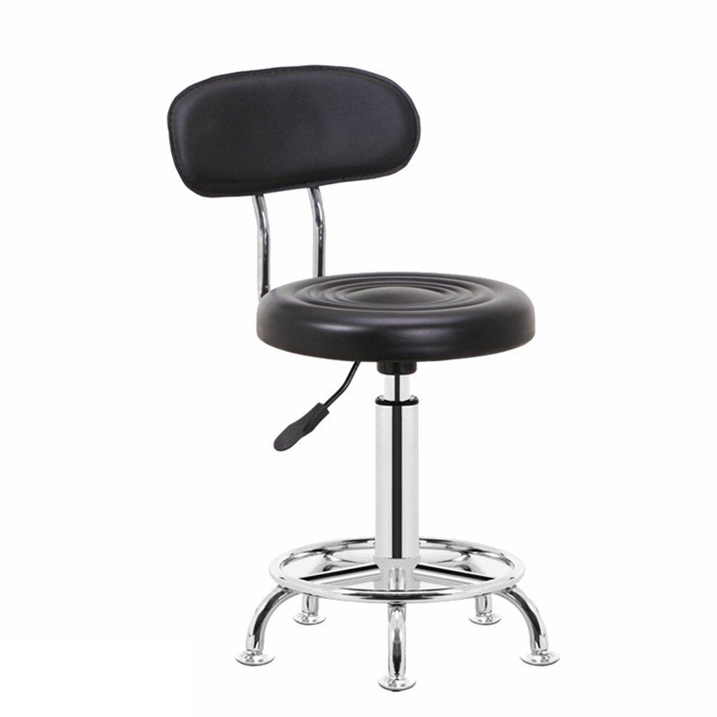 Rotatable Backrest Chair, Liftable Bar Stool Bar Chair Barstool Beauty Chair Household Computer Chair Office Chair Reception Desk Chair 66-78cm (Color : Black)