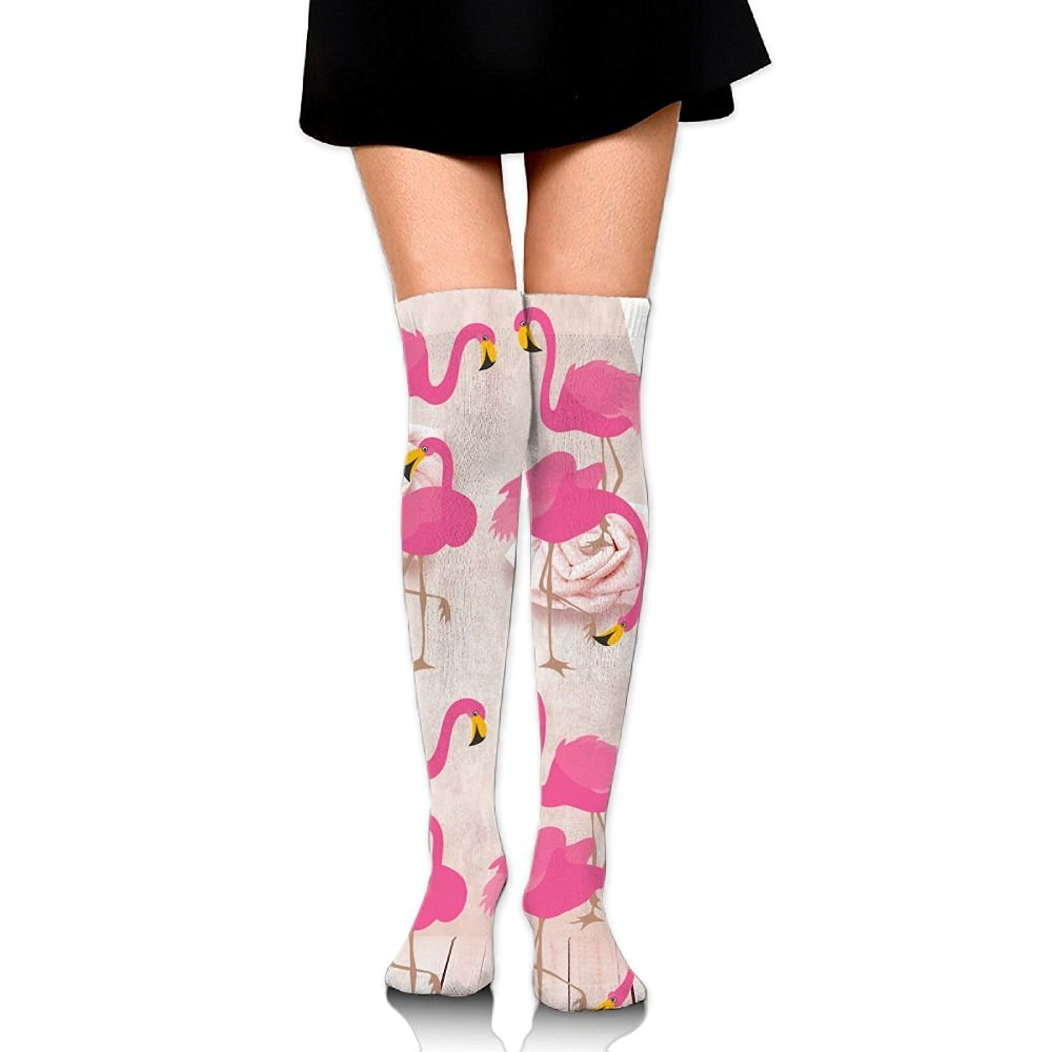 4f4dbc983dc Get Quotations · Funny Flamingo With Rose Womens Over The Knee Thigh High  Stockings Sexy Socks