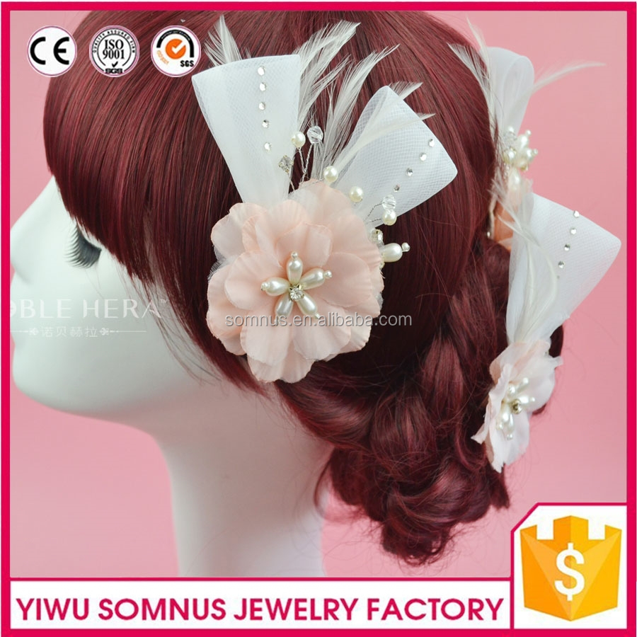 cheap artificial rose flower head silk flower with hair clips and sticks factory directly quality protection 2TZC