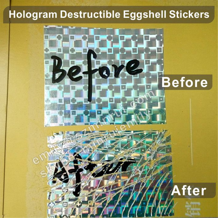 Custom hologram eggshell sticker sheets destructible brittle security eggshell vinyl graffiti stickers in sheets
