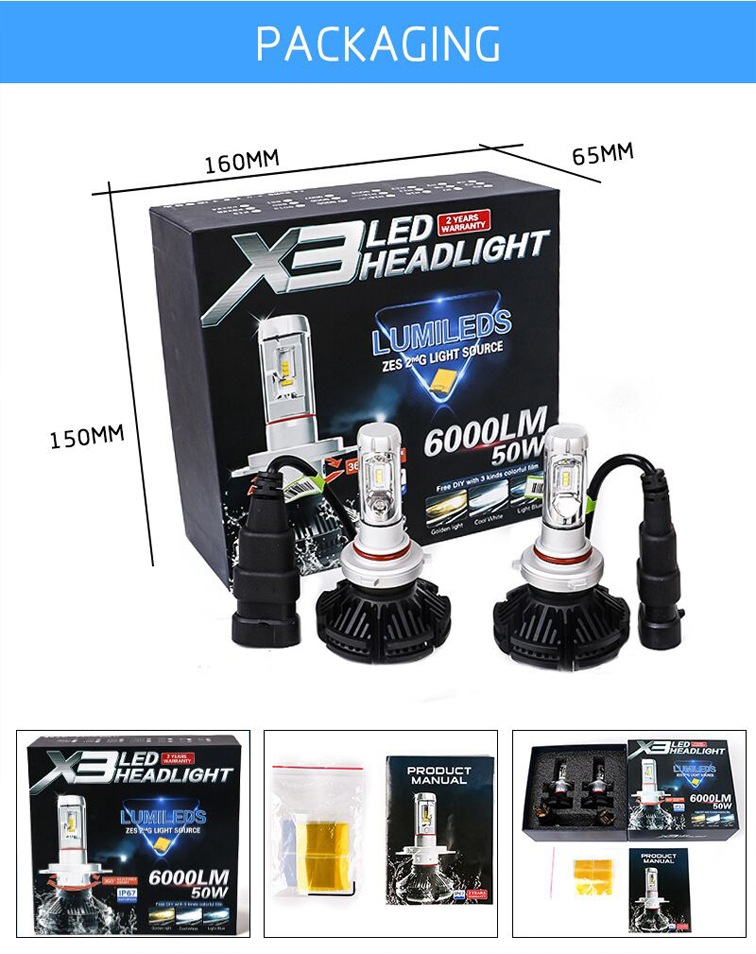 B-deals X3 LED Headlight Angel eyes DIY color