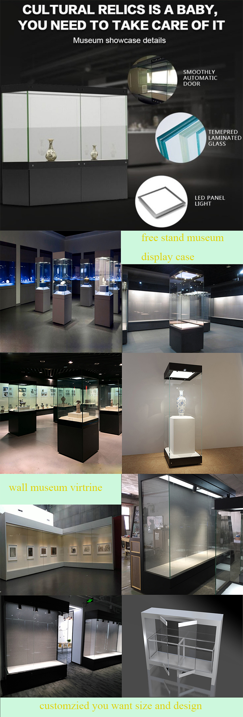 Clear tempered glass museum display equipment with LED spotlight and museum  display tower