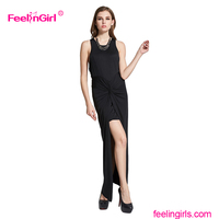 Wholesale high split black wrap over office long one piece maxi dress