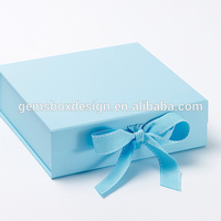 blue turquoise color ribbon tie wedding box