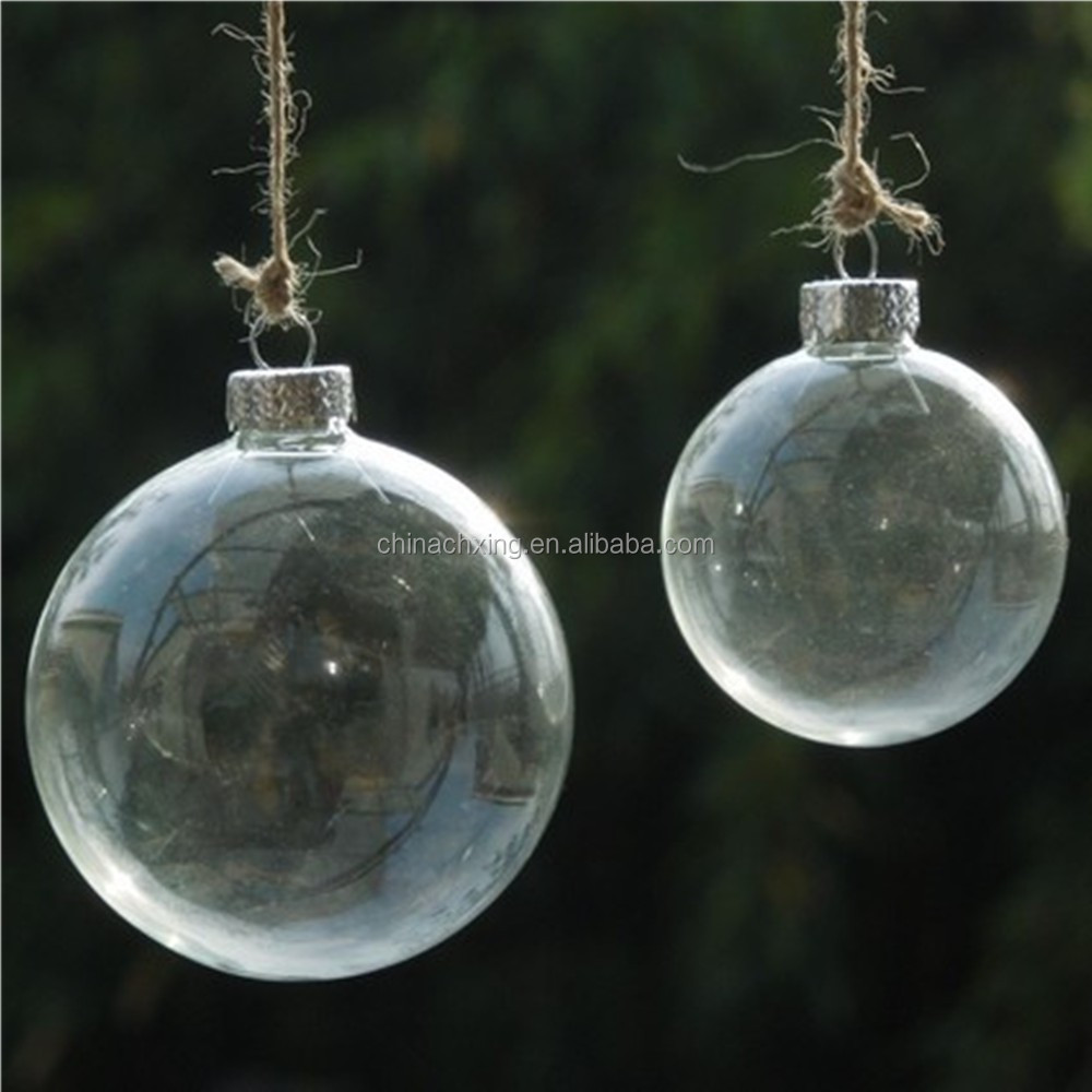 Hanging christmas tree decorations clear glass balls for Hanging christmas decorations