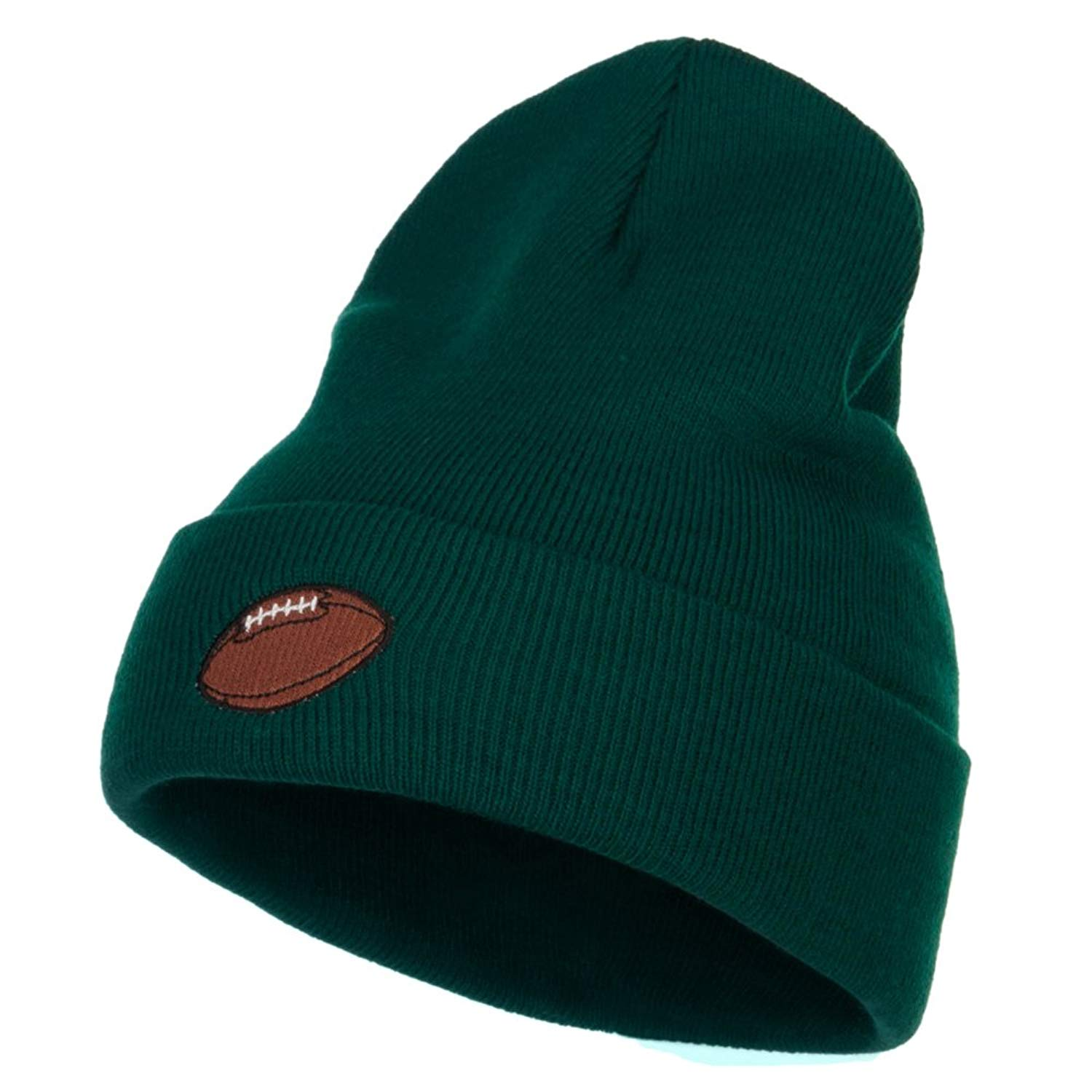 37b14b9b336 Get Quotations · Football Embroidered Long Beanie - Dk Green OSFM