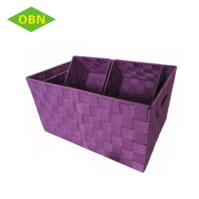 Hand Woven Nylon Strap Storage Organizer Basket