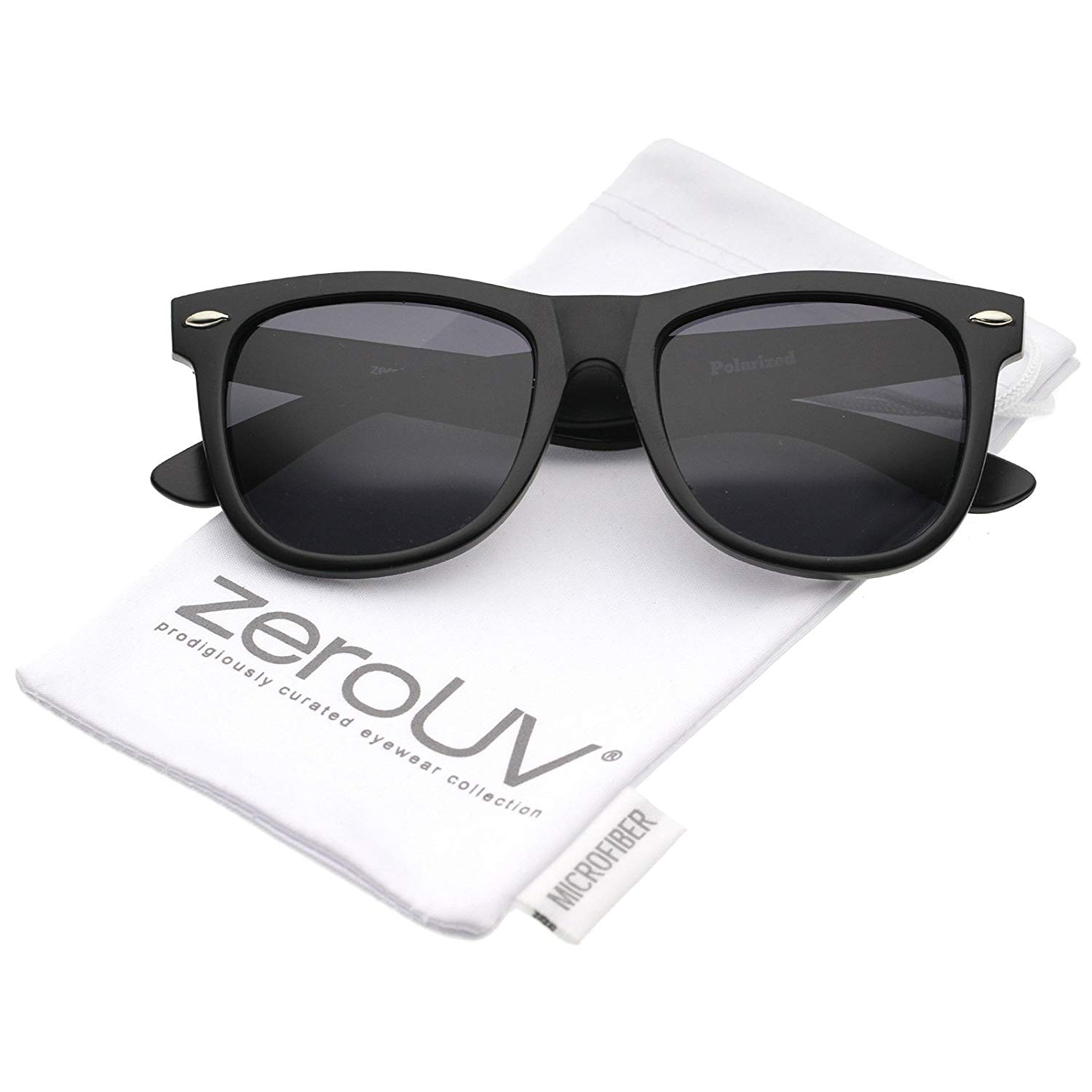 2a7417bff5 Get Quotations · zeroUV - Retro Wide Temple Polarized Lens Square Horn  Rimmed Sunglasses 55mm