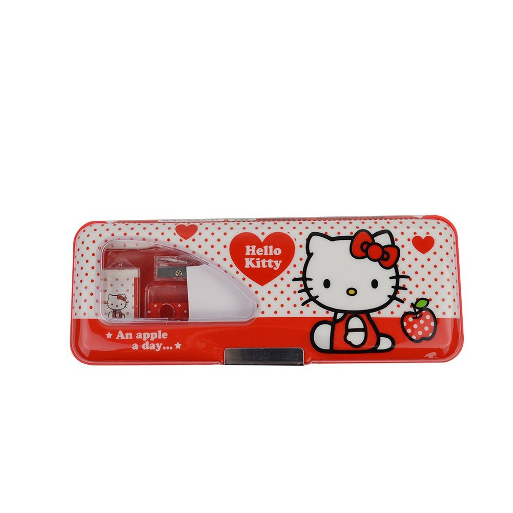 Hello Kitty Plastic Pencil Case with Pencils/Sharpener/Eraser/Ruler KT9308 (Red)