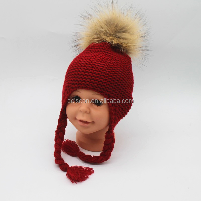 CRKB001D Red knitted beanie with tail /braids New raccoon fur pompoms hat