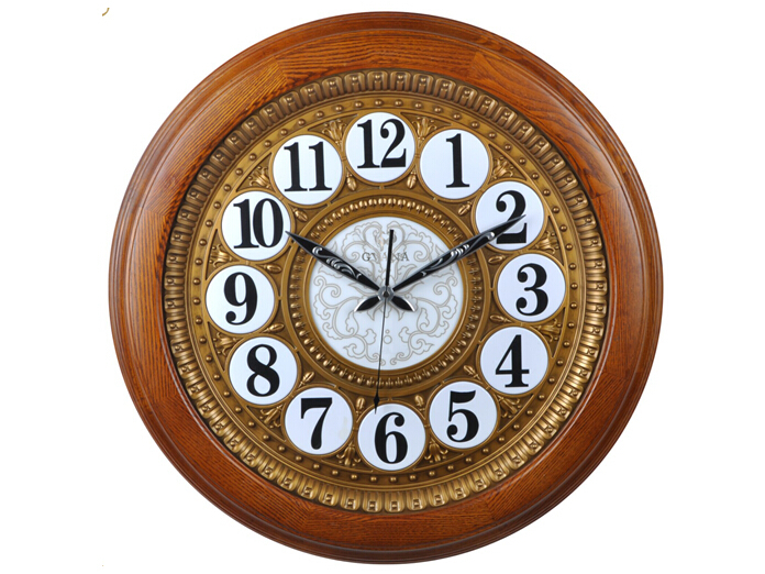 Vintage Home Decorative Furniture Quartz Analog Wooden Wall clock for Middle East Market