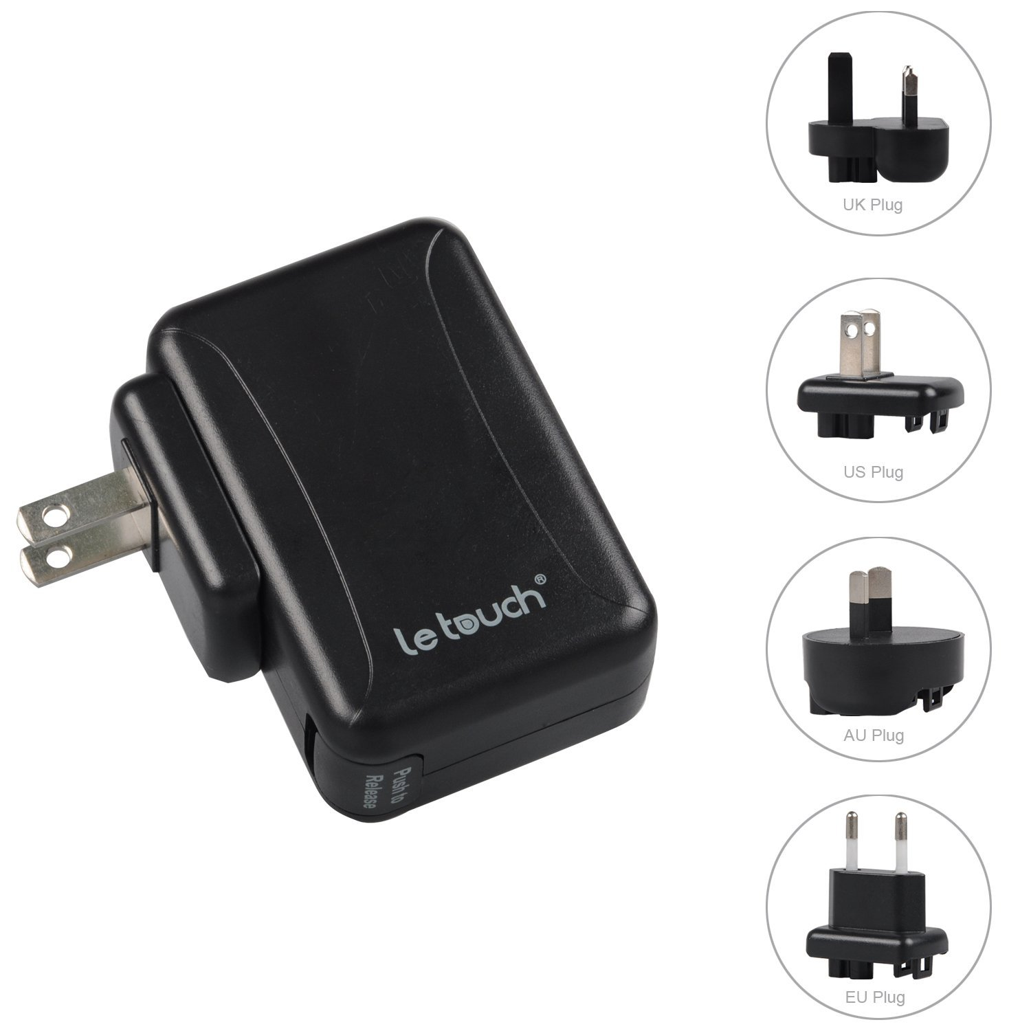 [Upgraded Version & All Smart Port] LETOUCH 24W (5V 4.8A) 4-Port USB Wall Charger Travel Kit With Interchangeable Plugs (US, UK, EU, AU); Multi port USB Travel Charger With Smart IC For iPhone / iPad / iPod & Android Windows Phone / Tablet, USB Charger Devices etc (Black)