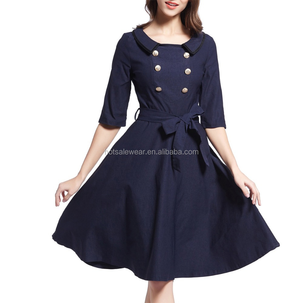 British style double-breasted vivi belt half sleeve dress OXL-OX095