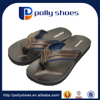 High quality leather material suturefor strap men beach flip flops