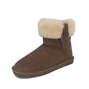 High quality waterproof indoor outdoor winter shoes warm khaki color flat sole fluffy ankle boots for women